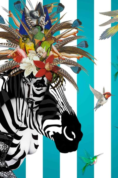 Animal Attraction Betty. This is eye-popping Pop Art and around the heads of this zebra is a happy confusion of exotic birds and flowers.